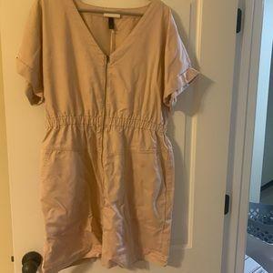 Pale Pink Utility Style Zipper Dress